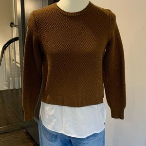 J. CREW Waffle Knit Sweater w/ Attached Shirt Tail